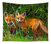 Babes In The Woods Oil Tapestry