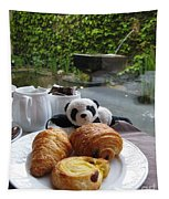 Baby Panda And Croissant Rolls Tapestry