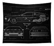 Back To The Future Delorean Blueprint 1 Tapestry