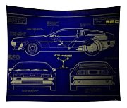Back To The Future Delorean Blueprint 2 Tapestry