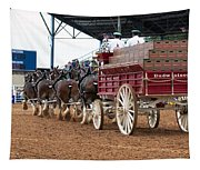 Back View Anheuser Busch Clydesdales Pulling A Beer Wagon Usa Tapestry
