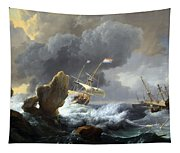 Backhuysen's Ships In Distress Off A Rocky Coast Tapestry