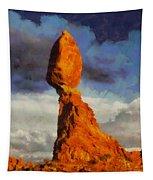 Balanced Rock At Sunset Digital Painting Tapestry