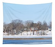 Bald Eagles In Tree In Grand Rapids Ohio Panorama Tapestry