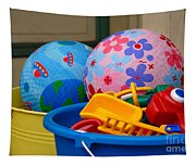 Balls And Toys In Buckets Tapestry
