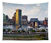 Baltimore Harbor Skyline Panorama Tapestry