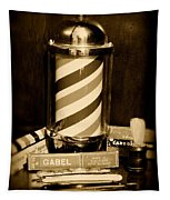 Barber - Barber Pole - Black And White Tapestry