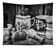 Barber - Shaving Mugs And Brushes In Black And White Tapestry