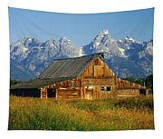 1m9394-barn And The Tetons Tapestry