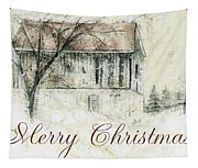 Barn In Snow Christmas Card Tapestry