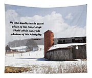 Barn In Winter With Psalm Scripture Tapestry