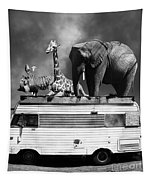 Barnum And Bailey Goes On A Road Trip 5d22705 Vertical Black And White Tapestry