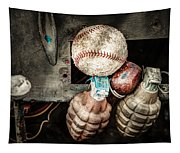 Baseball And Hand Grenades Tapestry