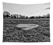 Baseball - Home Plate - Black And White Tapestry