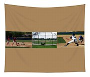 Baseball Playing Hard 3 Panel Composite 01 Tapestry