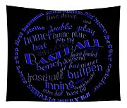 Baseball Terms Typography Blue On Black Tapestry
