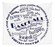 Baseball Terms Typography Blue On White Tapestry