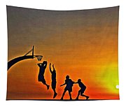 Basketball Sunrise Tapestry