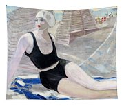 Bather In A Black Swimsuit Tapestry