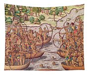 Battle Between Indian Tribes Tapestry