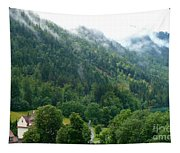 Bavarian Mountain Slope With Mist Tapestry