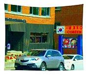 Bbq Coreen Korean Resto Cavendish St Jacques Montreal Summer Cafe City Scene Carole Spandau Tapestry