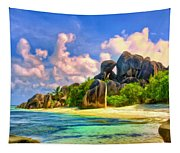 Beach Cove On La Digue Tapestry