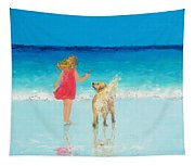 Beach Painting 'sunkissed Hair'  Tapestry
