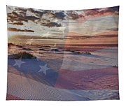 Beach With Flag Tapestry