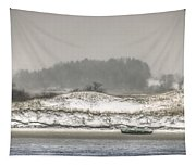 Beached Boat Winter Storm Tapestry
