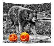Bear And Pumpkins Too Tapestry