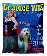 Bearded Collie Art Canvas Print - La Dolce Vita Movie Poster Tapestry