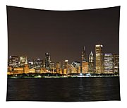 Beautiful Chicago Skyline With Fireworks Tapestry