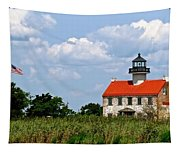 Beautiful Day At East Point Lighthouse  Tapestry