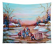 Beautiful Day For Pond Hockey Winter Landscape Painting  Tapestry