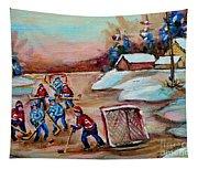 Beautiful Day-pond Hockey-hockey Game-canadian Landscape-winter Scenes-carole Spandau Tapestry