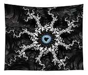 Beautiful Fractal Artwork Black White And Blue Tapestry