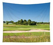 Beautiful Green Golf Course And Blue Sky Tapestry