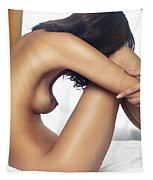 Beautiful Nude Woman Sitting On Bed With Arms Around Her Knees Tapestry