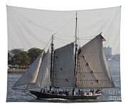 Beautiful Sailboat In Manhattan Harbor Tapestry