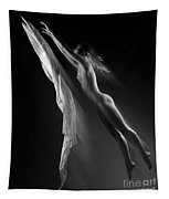 Beautiful Woman Flying Towards The Light Tapestry