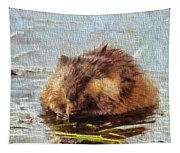 Beaver Portrait On Canvas Tapestry