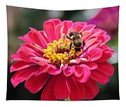 Bee On Pink Flower Tapestry