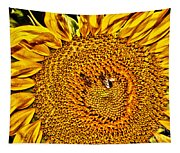 Bees On Sunflower Hdr Tapestry