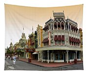 Before The Gates Open Early Morning Magic Kingdom With Castle. Tapestry