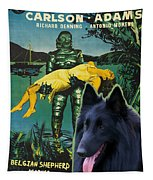 Belgian Shepherd Art Canvas Print - Creature From The Black Lagoon Movie Poster Tapestry