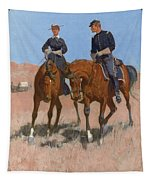 Belle Mckeever And Lt Edgar Wheelock Tapestry by Frederic Remington
