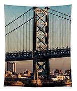 Ben Franklin Bridge Over Delaware River Tapestry