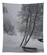 Bench In The Snow Tapestry