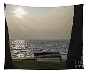 Bench On A Foggy Lake Front Tapestry